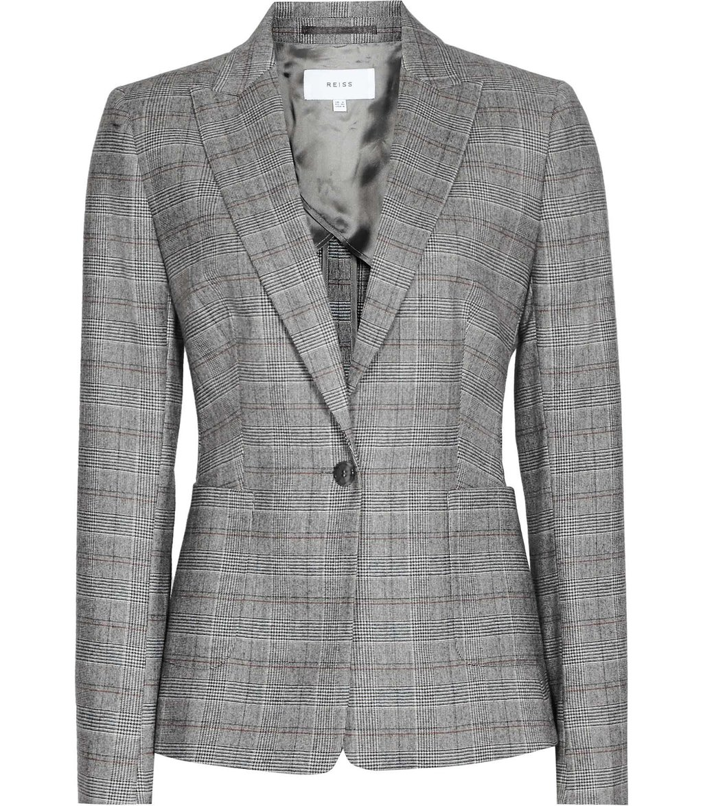 Musk Jacket Womens Checked Tailored Blazer In Grey - pattern: checked/gingham; style: single breasted blazer; collar: standard lapel/rever collar; predominant colour: mid grey; occasions: work; length: standard; fit: tailored/fitted; fibres: wool - stretch; sleeve length: long sleeve; sleeve style: standard; collar break: medium; pattern type: fabric; pattern size: standard; texture group: woven light midweight; season: a/w 2016