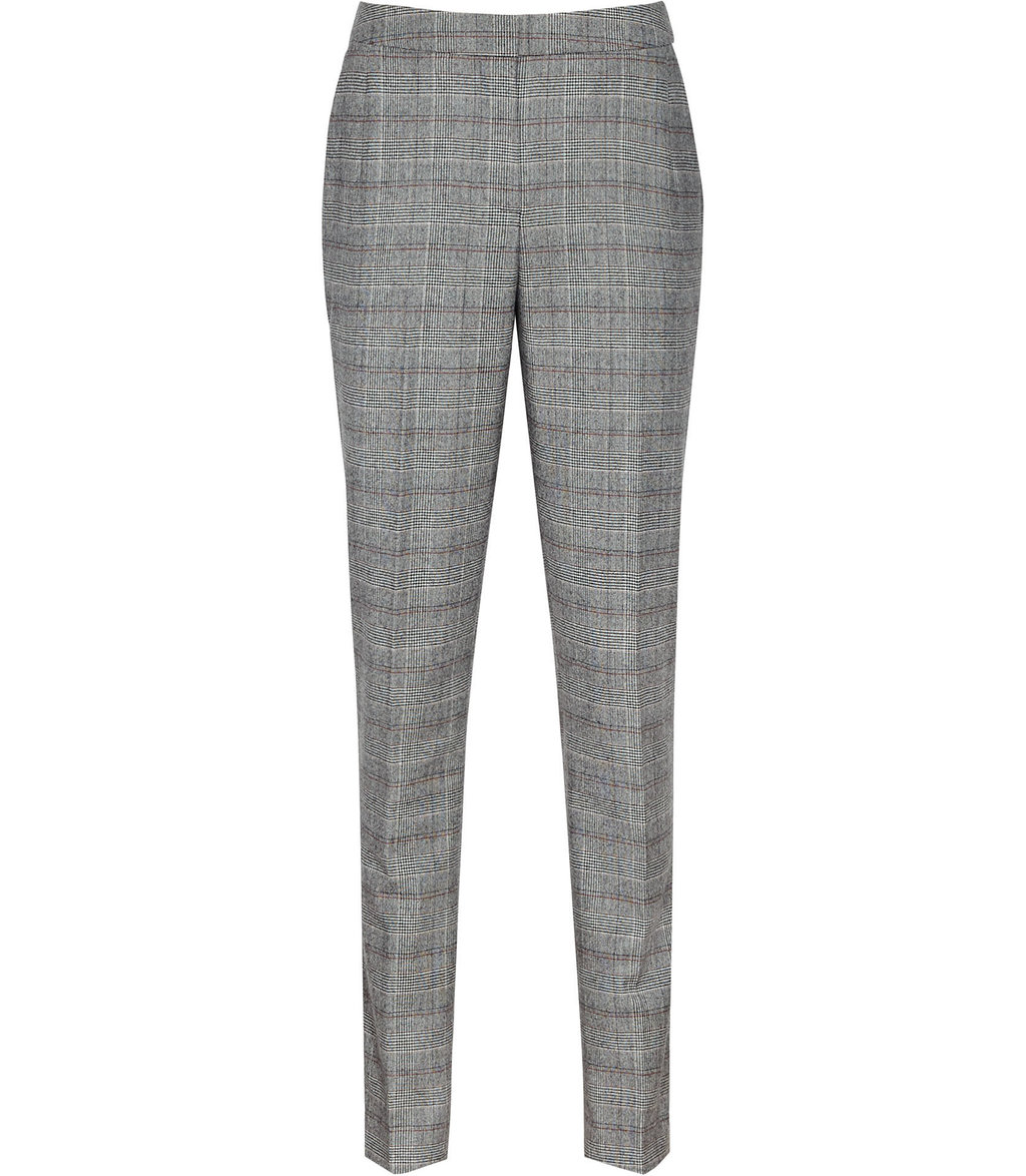 Musk Trouser Womens Checked Tailored Trousers In Grey - length: standard; pattern: checked/gingham; waist: high rise; predominant colour: mid grey; occasions: work; fibres: silk - 100%; texture group: silky - light; fit: straight leg; pattern type: fabric; style: standard; season: a/w 2016; wardrobe: highlight