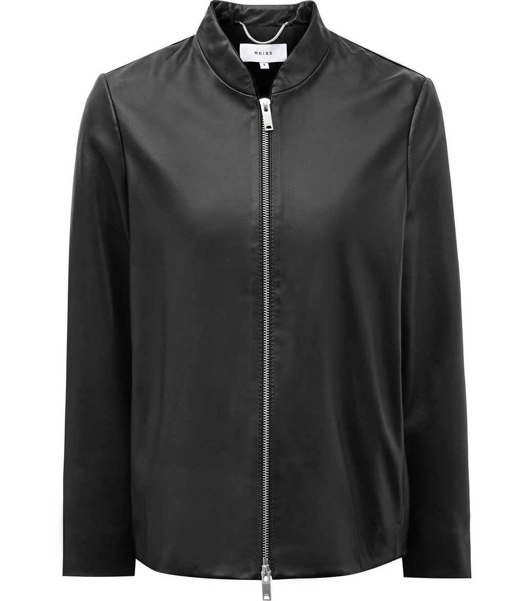 Beau Womens Cropped Leather Jacket In Black - pattern: plain; collar: round collar/collarless; fit: slim fit; style: bomber; predominant colour: black; occasions: casual; length: standard; fibres: leather - 100%; sleeve length: long sleeve; sleeve style: standard; texture group: leather; collar break: high; pattern type: fabric; wardrobe: basic; season: a/w 2016