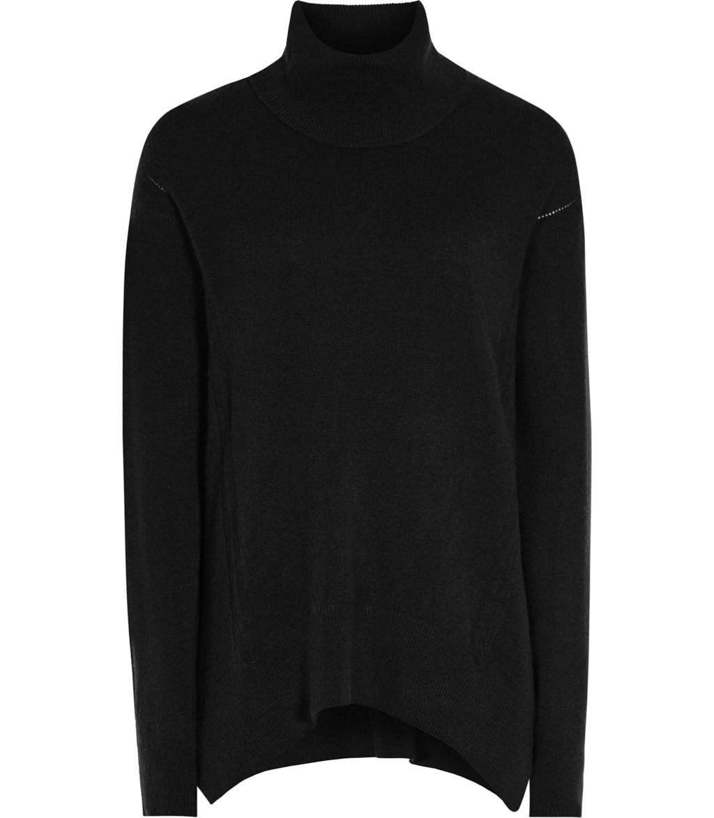 Daveen Womens Cashmere Roll Neck Jumper In Black - pattern: plain; neckline: roll neck; style: standard; predominant colour: black; occasions: casual; length: standard; fit: standard fit; fibres: cashmere - 100%; sleeve length: long sleeve; sleeve style: standard; texture group: knits/crochet; pattern type: knitted - fine stitch; wardrobe: investment; season: a/w 2016
