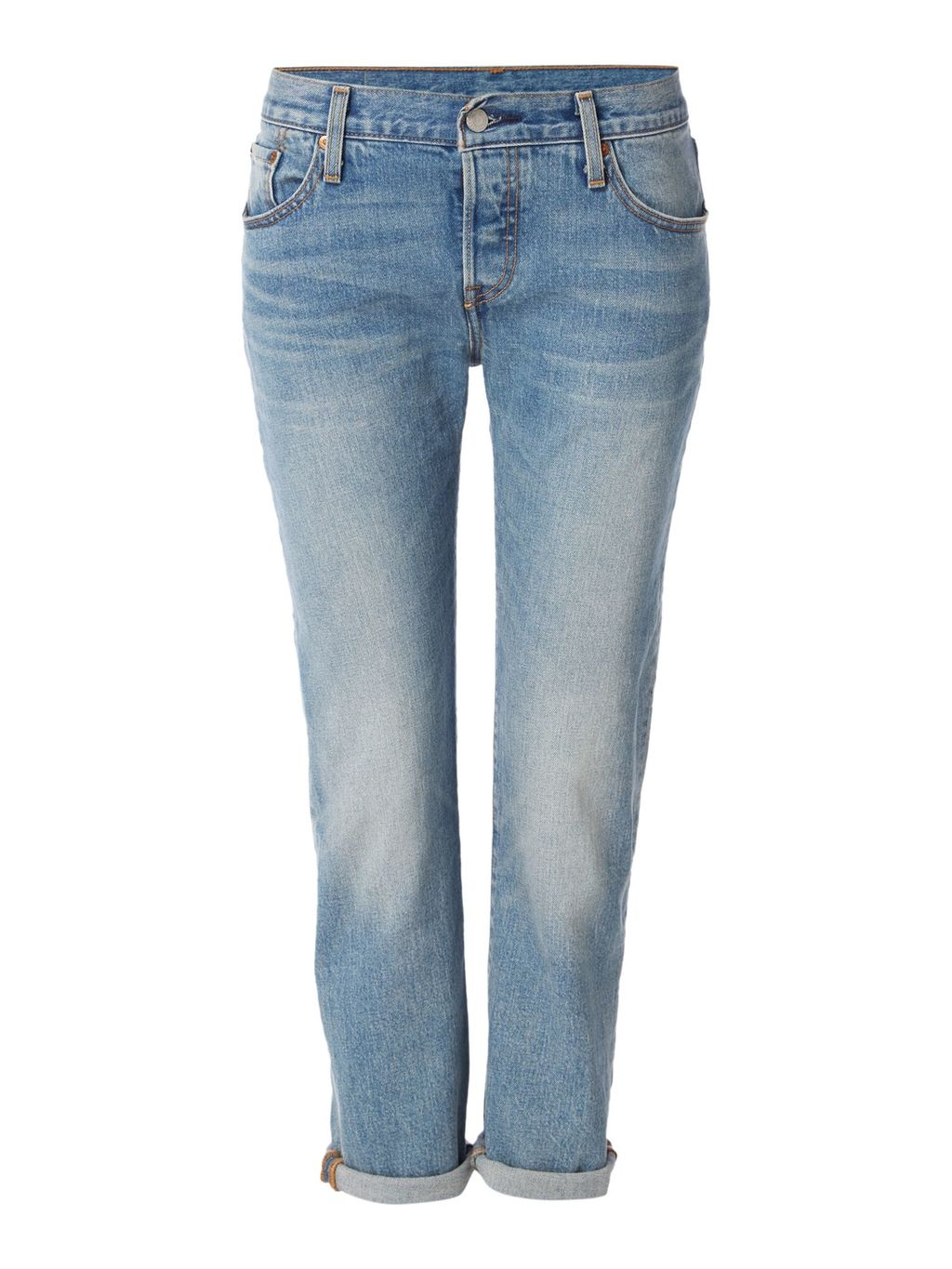 501 Boyfriend Tapered Jean In Island Azure, Denim Light Wash - style: boyfriend; length: standard; pattern: plain; pocket detail: traditional 5 pocket; waist: mid/regular rise; predominant colour: denim; occasions: casual; fibres: cotton - 100%; jeans detail: whiskering, shading down centre of thigh; jeans & bottoms detail: turn ups; texture group: denim; pattern type: fabric; wardrobe: basic; season: a/w 2016