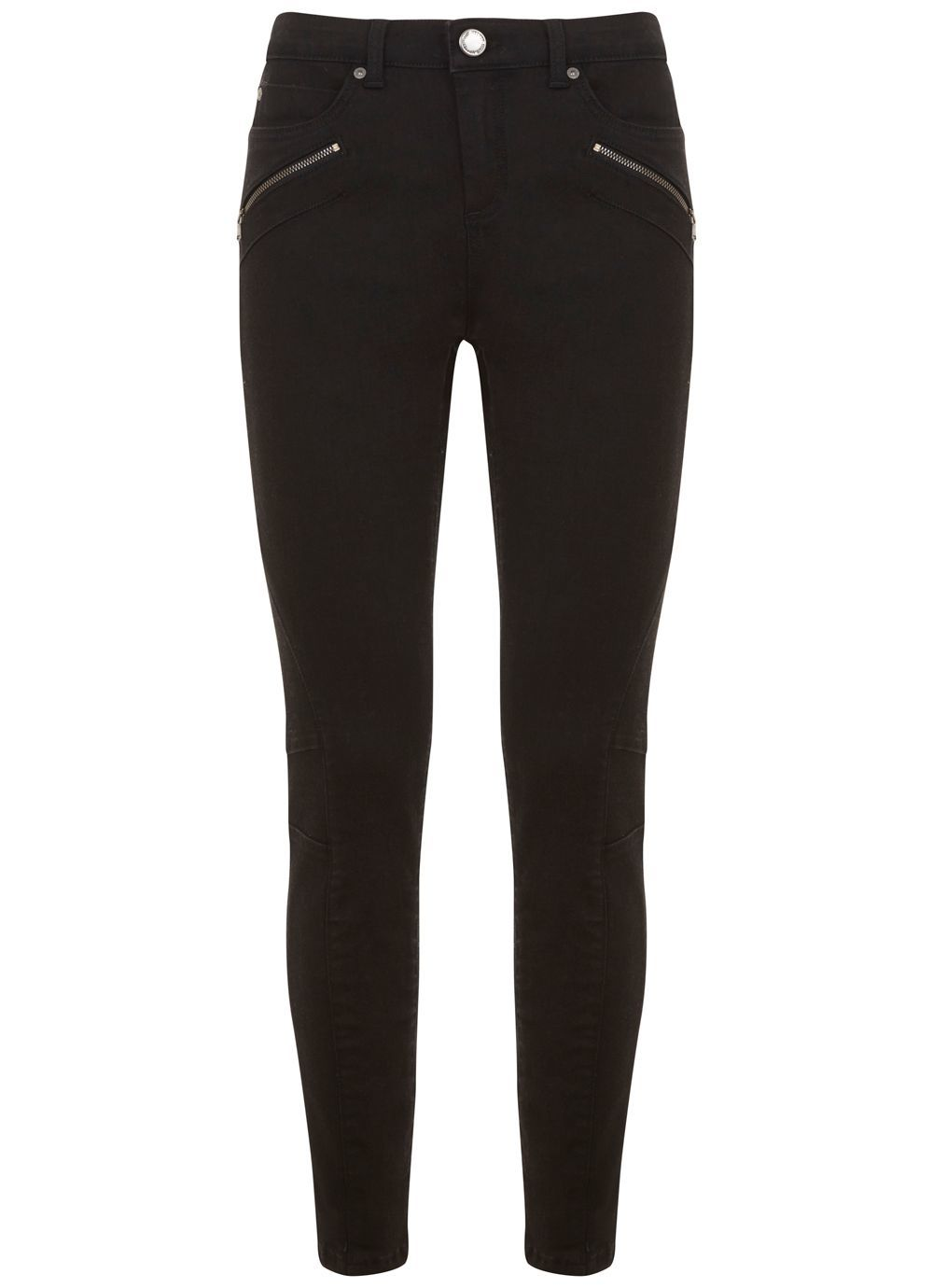 Darby Black Biker Skinny Jean, Black - style: skinny leg; length: standard; pattern: plain; waist: high rise; pocket detail: traditional 5 pocket; predominant colour: black; occasions: casual, creative work; fibres: cotton - stretch; texture group: canvas/hessian; pattern type: fabric; season: a/w 2016; wardrobe: highlight