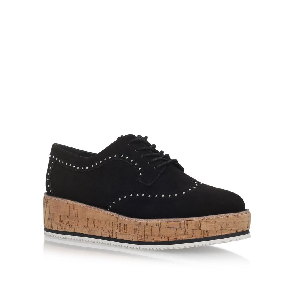 Kazam Lace Up Brogues, Black - predominant colour: black; occasions: casual, creative work; material: suede; heel height: flat; toe: round toe; style: flatforms; finish: plain; pattern: plain; season: a/w 2016