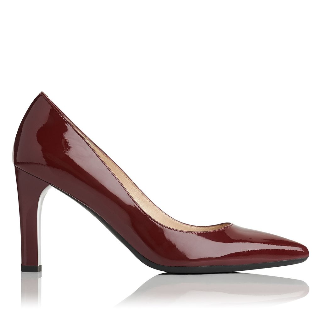 Tess Closed Courts, Red - predominant colour: burgundy; occasions: evening, occasion; material: leather; heel: block; toe: pointed toe; style: courts; finish: patent; pattern: plain; heel height: very high; season: a/w 2016