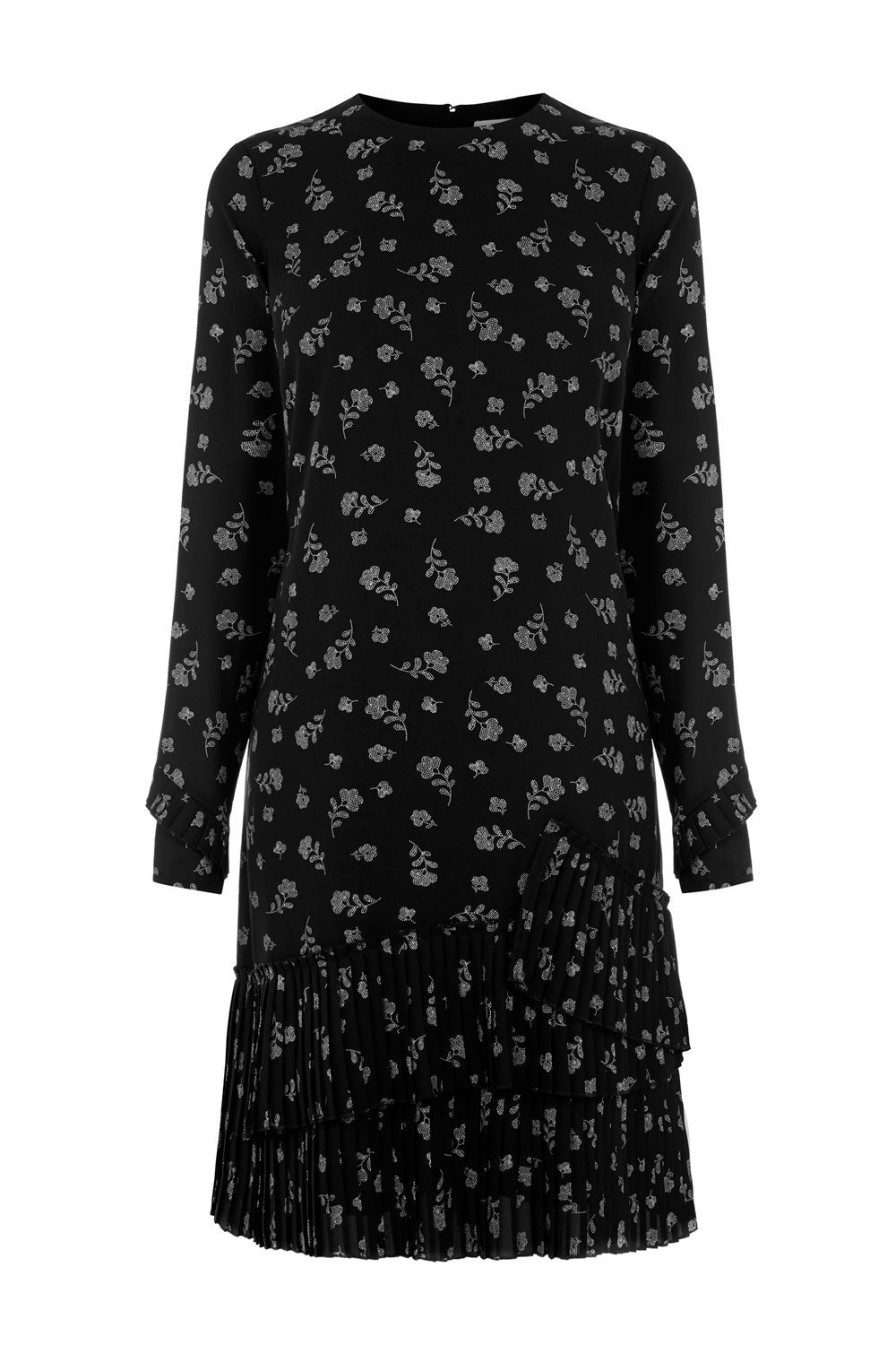 Dotty Floral Pleated Hem Dress, Black - style: shift; secondary colour: light grey; predominant colour: black; occasions: evening; length: just above the knee; fit: straight cut; fibres: polyester/polyamide - 100%; neckline: crew; sleeve length: long sleeve; sleeve style: standard; pattern type: fabric; pattern: patterned/print; texture group: other - light to midweight; season: a/w 2016; wardrobe: event