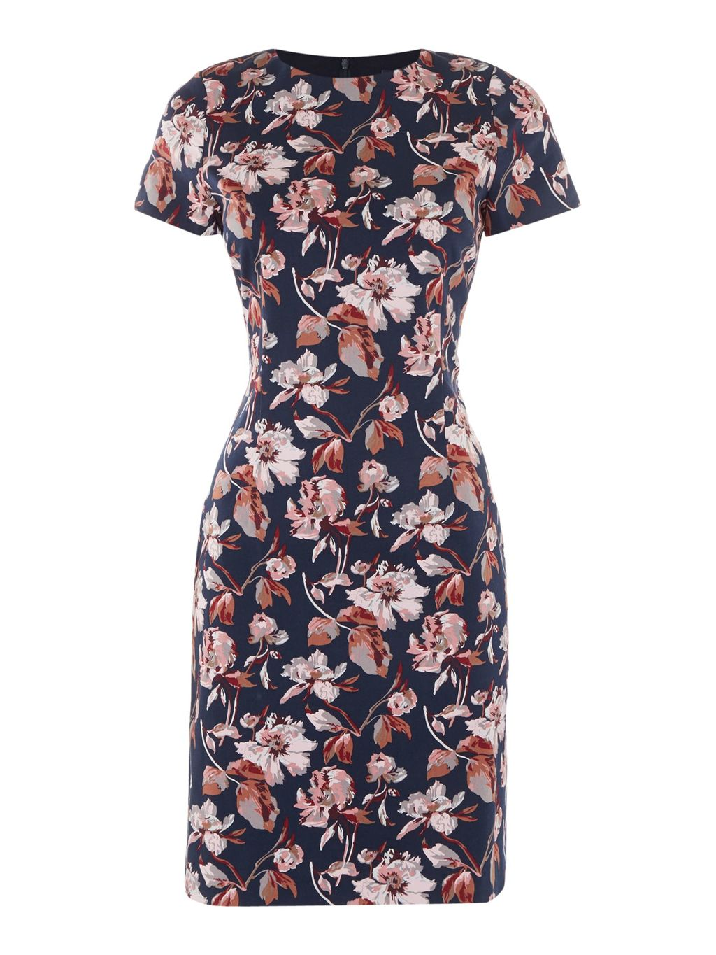 Aquarella Blossom Dress, Blue - style: shift; secondary colour: blush; predominant colour: navy; occasions: evening; length: just above the knee; fit: body skimming; fibres: cotton - stretch; neckline: crew; sleeve length: short sleeve; sleeve style: standard; pattern type: fabric; pattern size: big & busy; pattern: florals; texture group: jersey - stretchy/drapey; multicoloured: multicoloured; season: a/w 2016