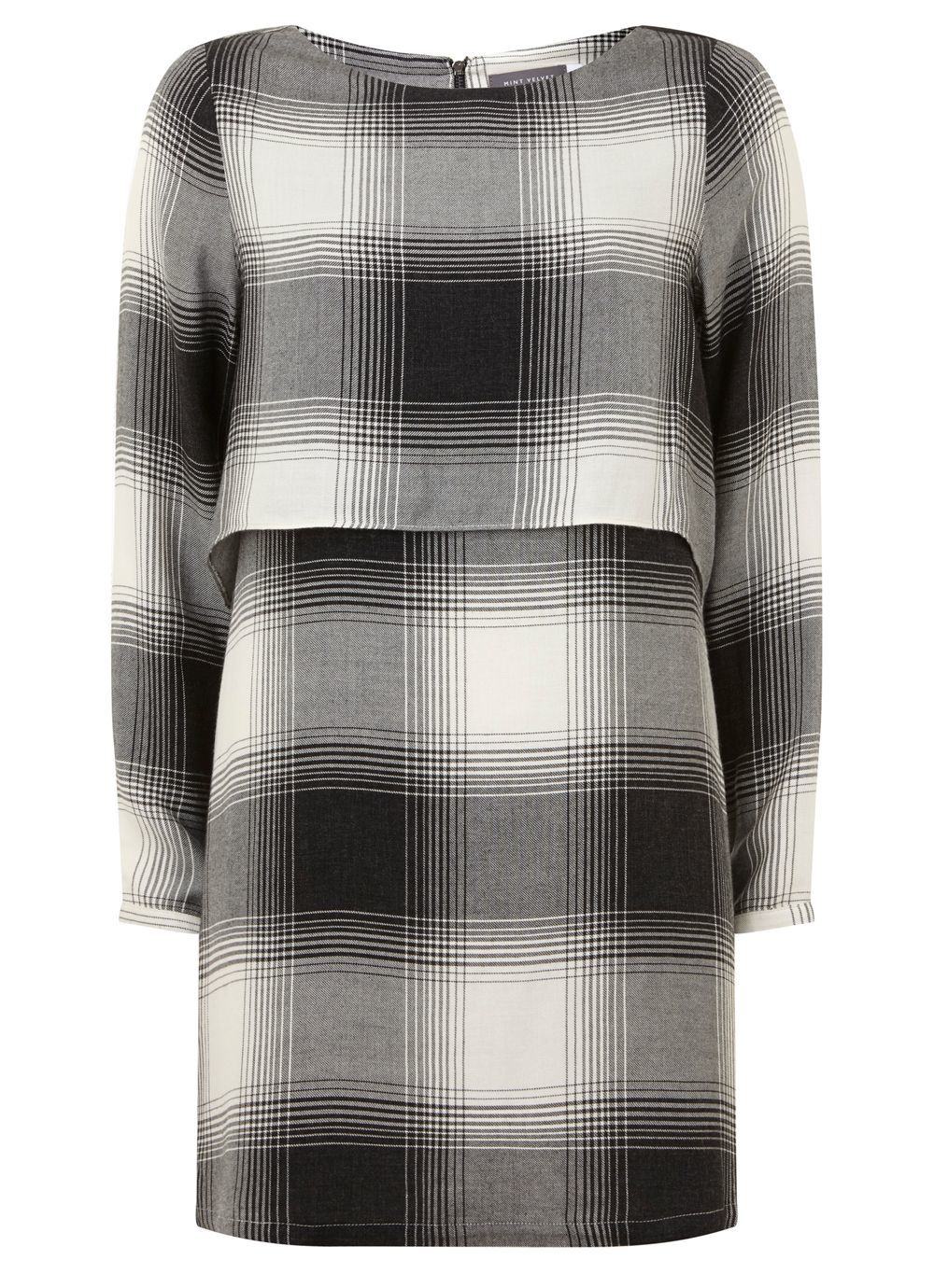 Fine Check Layer Dress, Multi Coloured - style: shift; length: mid thigh; fit: loose; pattern: checked/gingham; bust detail: subtle bust detail; secondary colour: white; predominant colour: black; occasions: evening; neckline: crew; sleeve length: long sleeve; sleeve style: standard; pattern type: fabric; texture group: woven light midweight; fibres: viscose/rayon - mix; multicoloured: multicoloured; season: a/w 2016; wardrobe: event