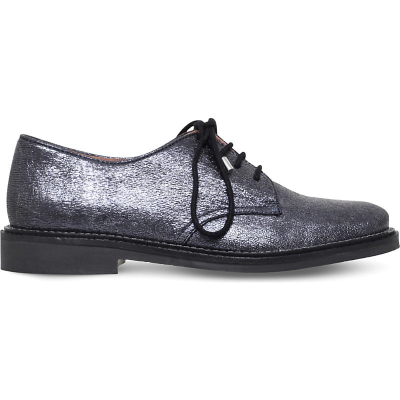 Kidd Metallic Leather Derby Brogues, Women's, Eur 37 / 4 Uk Women, Dark Gray - predominant colour: silver; occasions: casual, creative work; material: leather; heel height: flat; toe: round toe; finish: metallic; pattern: plain; style: lace ups; wardrobe: basic; season: a/w 2016