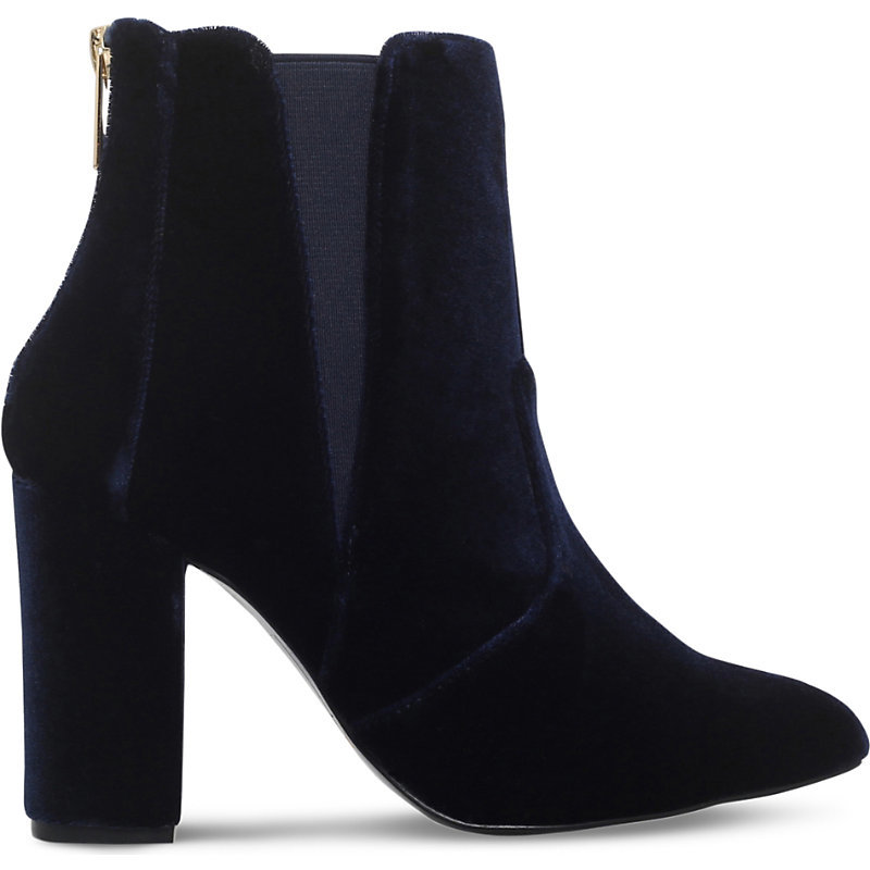 Navy Velvet Gorki, Women's, Eur 40 / 7 Uk Women, Blue - predominant colour: navy; occasions: casual, creative work; material: velvet; heel height: high; heel: block; toe: pointed toe; boot length: ankle boot; style: standard; finish: plain; pattern: plain; season: a/w 2016; wardrobe: highlight