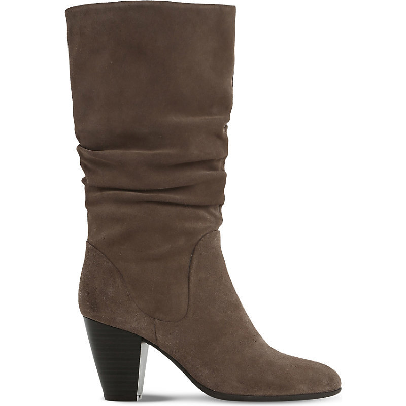 Rossy Slouchy Suede Boots, Women's, Eur 38 / 5 Uk Women, Taupe Suede - predominant colour: chocolate brown; occasions: casual, creative work; material: suede; heel height: mid; heel: cone; toe: round toe; boot length: mid calf; style: standard; finish: plain; pattern: plain; wardrobe: basic; season: a/w 2016