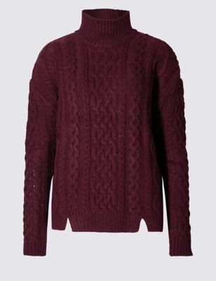 Cable Knit Funnel Neck Jumper - pattern: plain; neckline: roll neck; style: standard; predominant colour: burgundy; occasions: casual; length: standard; fibres: acrylic - mix; fit: loose; sleeve length: long sleeve; sleeve style: standard; texture group: knits/crochet; pattern type: knitted - fine stitch; pattern size: standard; season: a/w 2016; wardrobe: highlight