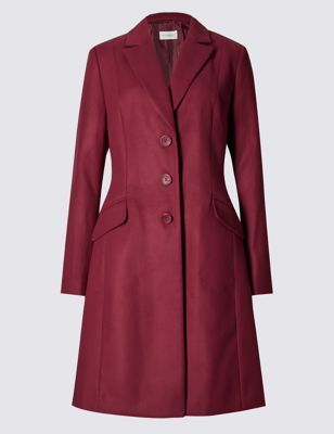 2 Pocket Crombie Coat - pattern: plain; style: single breasted; collar: standard lapel/rever collar; length: mid thigh; predominant colour: burgundy; occasions: casual, creative work; fit: tailored/fitted; fibres: polyester/polyamide - 100%; sleeve length: long sleeve; sleeve style: standard; collar break: medium; pattern type: fabric; texture group: woven bulky/heavy; season: a/w 2016; wardrobe: highlight