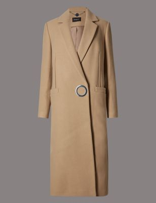 Wool Rich Long Double Cloth Overcoat - pattern: plain; length: below the bottom; style: wrap around; collar: standard lapel/rever collar; predominant colour: camel; occasions: casual, creative work; fit: tailored/fitted; fibres: wool - mix; sleeve length: long sleeve; sleeve style: standard; collar break: medium; pattern type: fabric; texture group: woven bulky/heavy; season: a/w 2016; trends: metropolis
