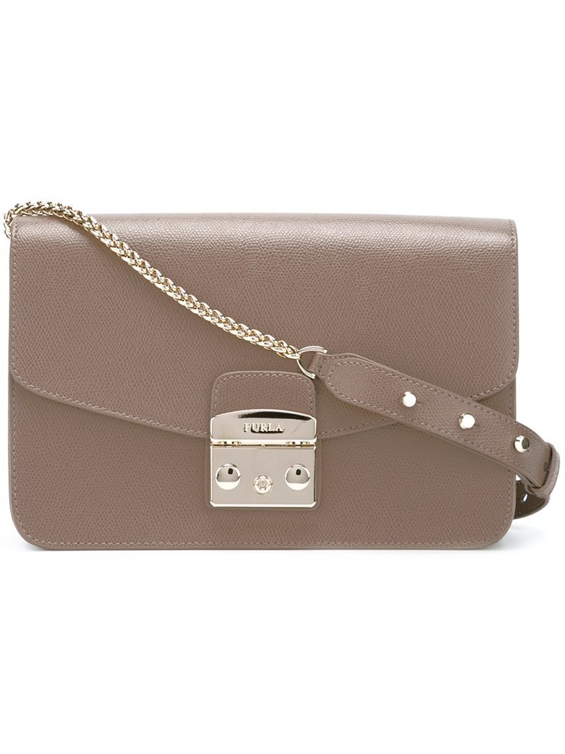 Flap Closure Shoulder Bag, Women's, Brown - predominant colour: taupe; occasions: casual, creative work; type of pattern: standard; style: shoulder; length: shoulder (tucks under arm); size: standard; material: leather; pattern: plain; finish: plain; embellishment: chain/metal; wardrobe: investment; season: a/w 2016