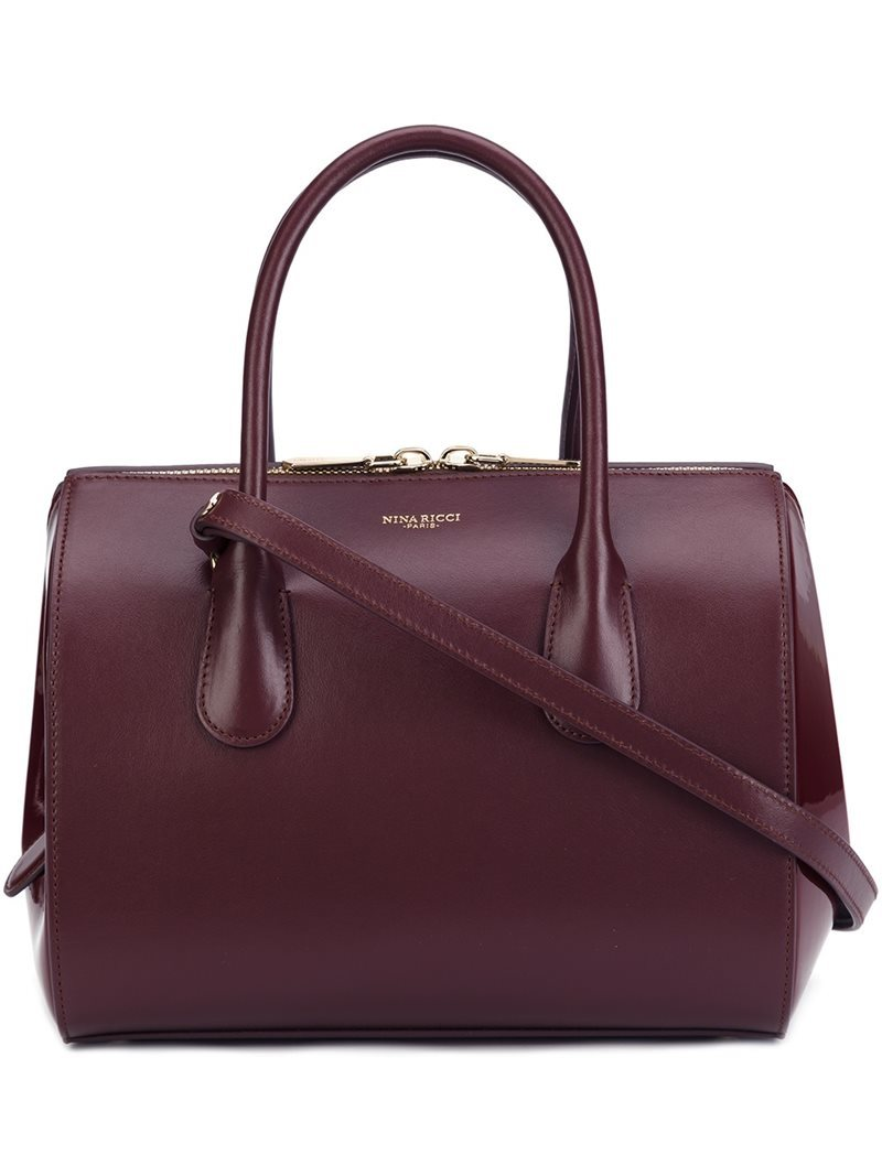 Zipped Tote, Women's, Red - predominant colour: aubergine; occasions: casual, work, creative work; type of pattern: standard; style: tote; length: handle; size: standard; material: leather; pattern: plain; finish: plain; season: a/w 2016