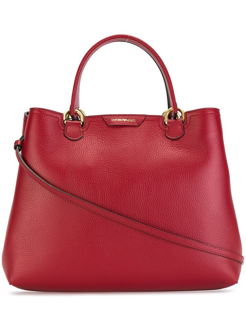 Double Handles Medium Tote, Women's, Red - predominant colour: true red; occasions: casual; type of pattern: standard; style: tote; length: shoulder (tucks under arm); size: standard; material: leather; pattern: plain; finish: plain; season: a/w 2016; wardrobe: highlight