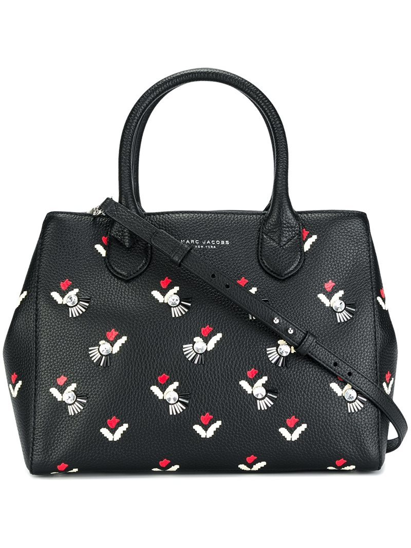 Embellished Tulip 'gotham' Tote, Women's, Black - secondary colour: white; predominant colour: black; occasions: casual; type of pattern: light; style: tote; length: hand carry; size: standard; material: leather; finish: plain; pattern: patterned/print; multicoloured: multicoloured; season: a/w 2016; wardrobe: highlight