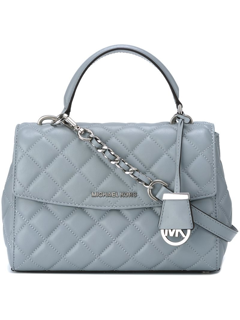 'ava' Tote, Women's, Blue - predominant colour: pale blue; secondary colour: silver; occasions: casual, creative work; type of pattern: standard; style: tote; length: handle; size: standard; material: leather; embellishment: quilted; pattern: plain; finish: plain; season: a/w 2016; wardrobe: highlight