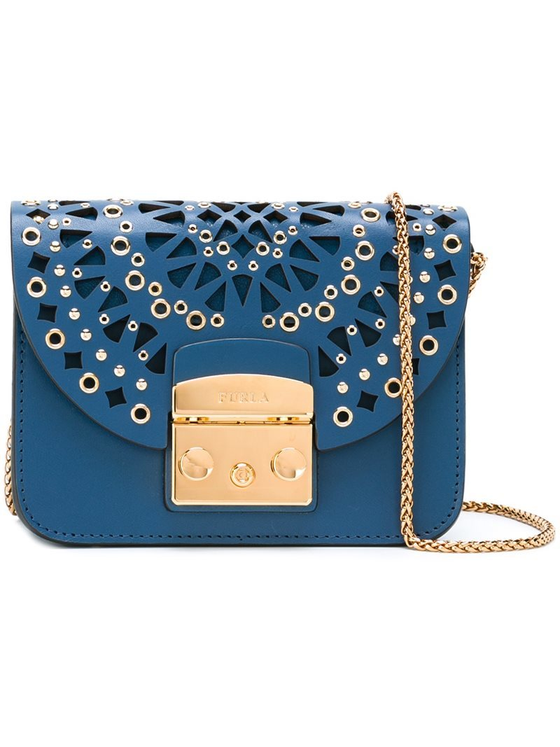Cut Out Embellished Cross Body Bag, Women's, Blue - predominant colour: diva blue; secondary colour: gold; occasions: evening, occasion; type of pattern: standard; style: messenger; length: shoulder (tucks under arm); size: standard; material: leather; finish: plain; pattern: patterned/print; embellishment: chain/metal; season: a/w 2016; wardrobe: event