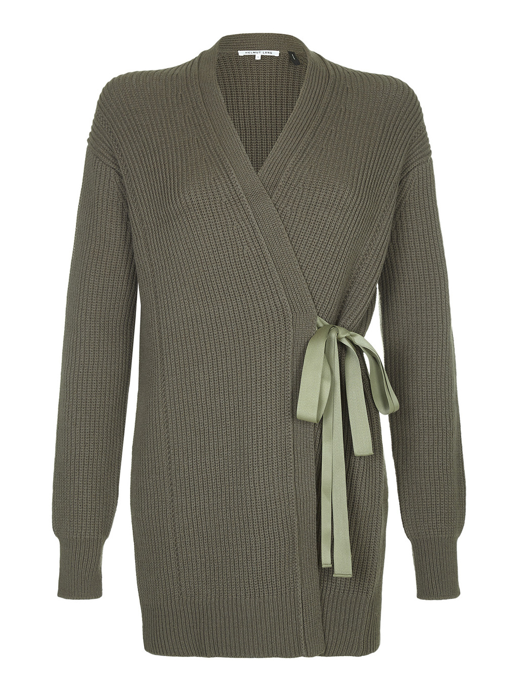 Cardigan - neckline: v-neck; pattern: plain; style: wrap; predominant colour: khaki; occasions: casual, creative work; fibres: wool - 100%; fit: standard fit; length: mid thigh; waist detail: belted waist/tie at waist/drawstring; sleeve length: long sleeve; sleeve style: standard; texture group: knits/crochet; pattern type: knitted - fine stitch; season: a/w 2016