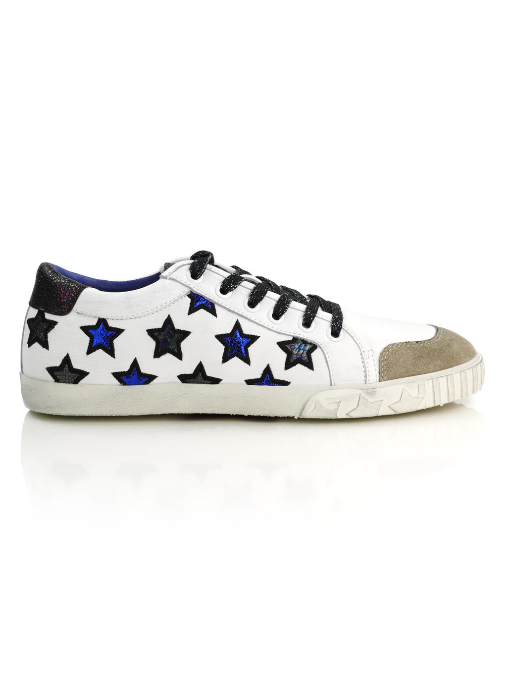 Majestic Trainer - predominant colour: white; occasions: casual, activity; material: leather; heel height: flat; toe: round toe; style: trainers; finish: plain; pattern: patterned/print; season: a/w 2016