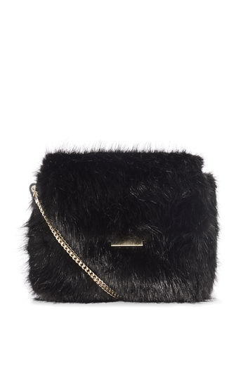 Faux Fur Chain Bag - predominant colour: black; occasions: evening; type of pattern: standard; style: shoulder; length: across body/long; size: standard; material: faux fur; pattern: plain; finish: plain; season: a/w 2016; wardrobe: event