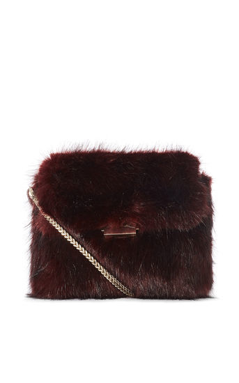 Faux Fur Chain Bag - predominant colour: burgundy; occasions: evening; type of pattern: standard; style: shoulder; length: across body/long; size: standard; material: faux fur; pattern: plain; finish: plain; season: a/w 2016; wardrobe: event