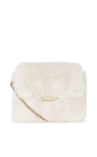 Faux Fur Chain Bag - predominant colour: white; occasions: casual, creative work; type of pattern: standard; style: shoulder; length: shoulder (tucks under arm); size: standard; material: fur; pattern: plain; finish: plain; embellishment: chain/metal; season: a/w 2016; wardrobe: highlight