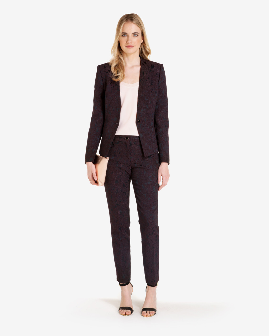 Floral Jacquard Suit Trousers Deep Purple - pattern: plain; waist: mid/regular rise; predominant colour: aubergine; occasions: work; length: ankle length; fibres: polyester/polyamide - 100%; fit: slim leg; pattern type: fabric; texture group: brocade/jacquard; style: standard; season: a/w 2016; wardrobe: highlight