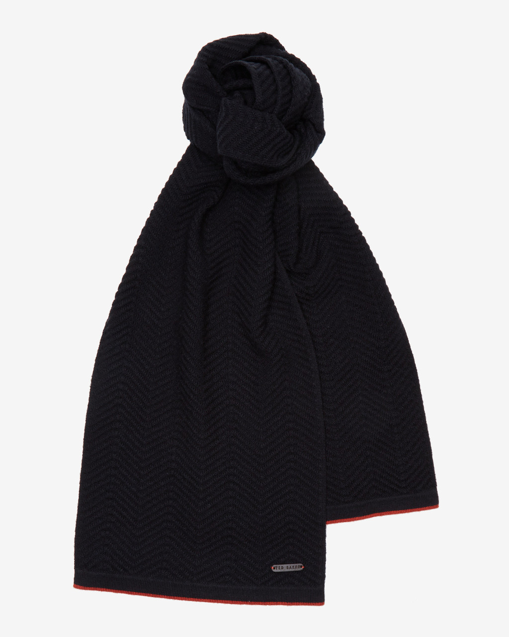 Herringbone Stitch Scarf Navy - predominant colour: black; occasions: casual, creative work; type of pattern: standard; style: regular; size: standard; material: knits; pattern: plain; wardrobe: basic; season: a/w 2016