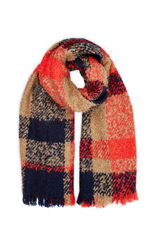 Boucle Check Scarf - secondary colour: bright orange; predominant colour: camel; occasions: casual, creative work; type of pattern: standard; style: regular; size: standard; material: knits; embellishment: fringing; pattern: checked/gingham; multicoloured: multicoloured; season: a/w 2016; wardrobe: highlight
