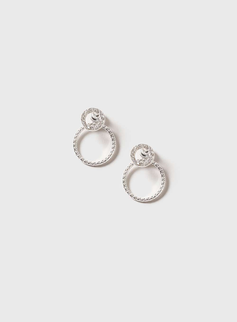 Womens Silver Front And Back Earrings Clear - predominant colour: silver; occasions: evening, occasion; style: hoop; length: mid; size: standard; material: chain/metal; fastening: pierced; finish: metallic; embellishment: crystals/glass; season: a/w 2016; wardrobe: event