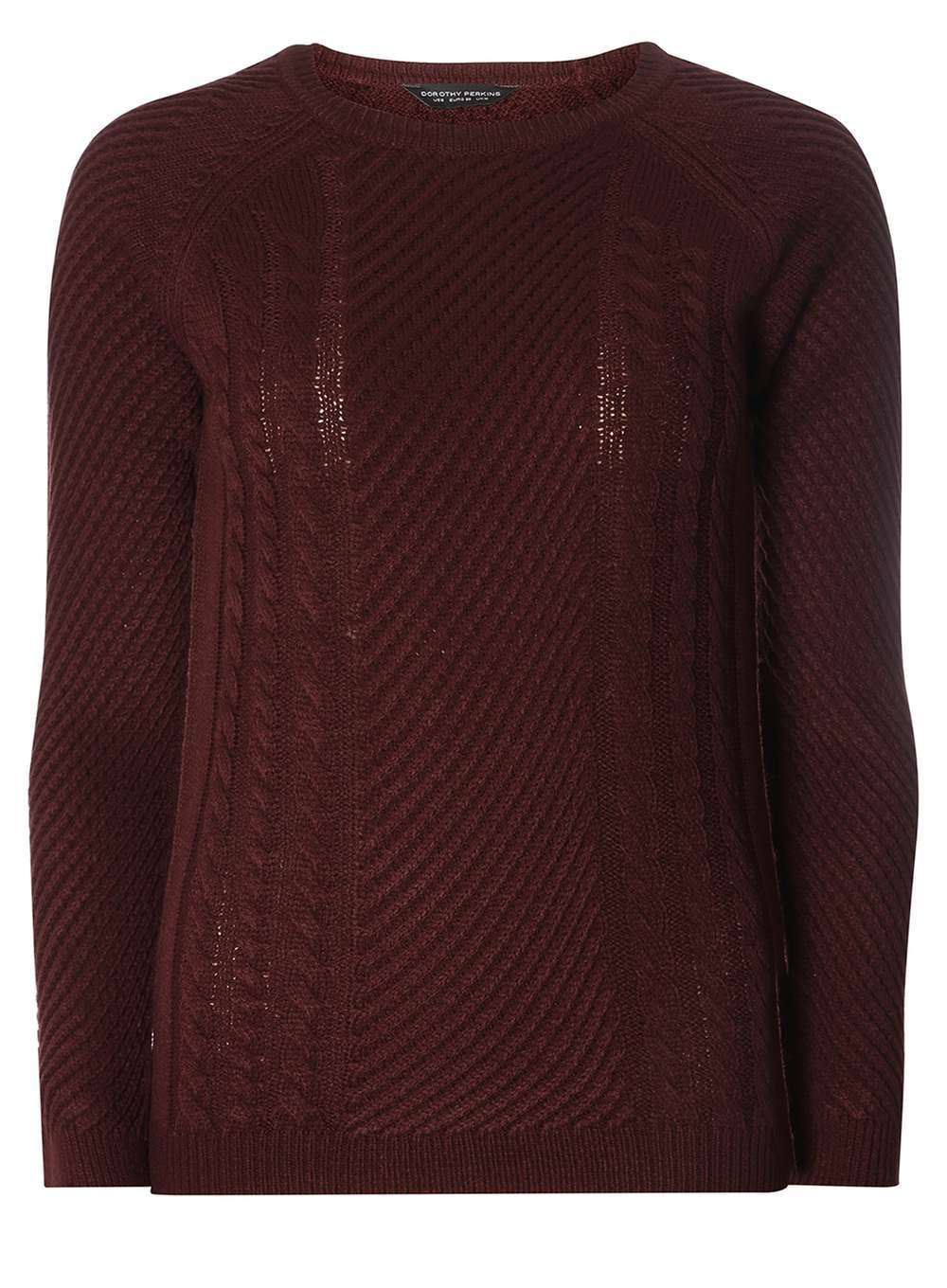 Womens **Tall Berry Cable Detail Jumper Red - pattern: plain; style: standard; predominant colour: burgundy; occasions: casual; length: standard; fibres: acrylic - 100%; fit: slim fit; neckline: crew; sleeve length: long sleeve; sleeve style: standard; texture group: knits/crochet; pattern type: knitted - fine stitch; season: a/w 2016; wardrobe: highlight