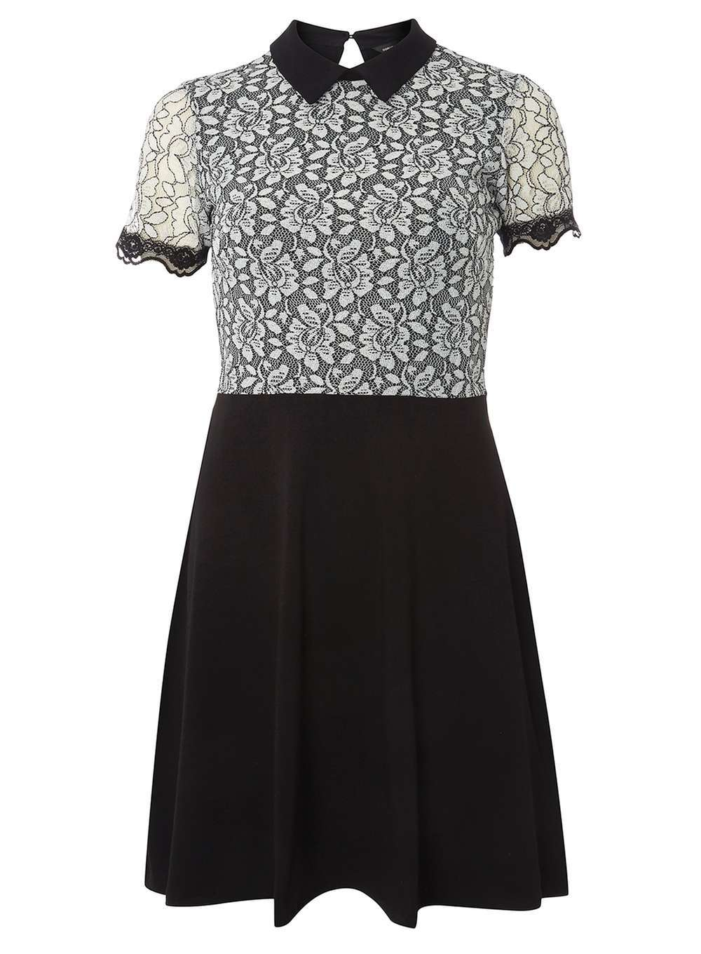 Womens Black And Ivory Lace Collar Dress Black - secondary colour: ivory/cream; predominant colour: black; occasions: evening; length: just above the knee; fit: fitted at waist & bust; style: fit & flare; fibres: cotton - stretch; neckline: no opening/shirt collar/peter pan; back detail: keyhole/peephole detail at back; sleeve length: short sleeve; sleeve style: standard; pattern type: fabric; pattern: patterned/print; texture group: jersey - stretchy/drapey; embellishment: lace; season: a/w 2016; wardrobe: event
