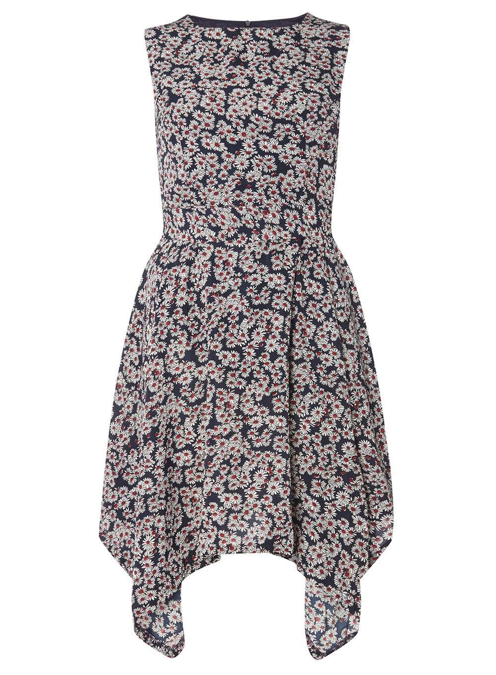 Womens **Mela Navy Daisy Print Dress Blue - sleeve style: sleeveless; secondary colour: lilac; predominant colour: black; occasions: evening; length: just above the knee; fit: fitted at waist & bust; style: fit & flare; fibres: polyester/polyamide - 100%; neckline: crew; sleeve length: sleeveless; pattern type: fabric; pattern: patterned/print; texture group: other - light to midweight; multicoloured: multicoloured; season: a/w 2016