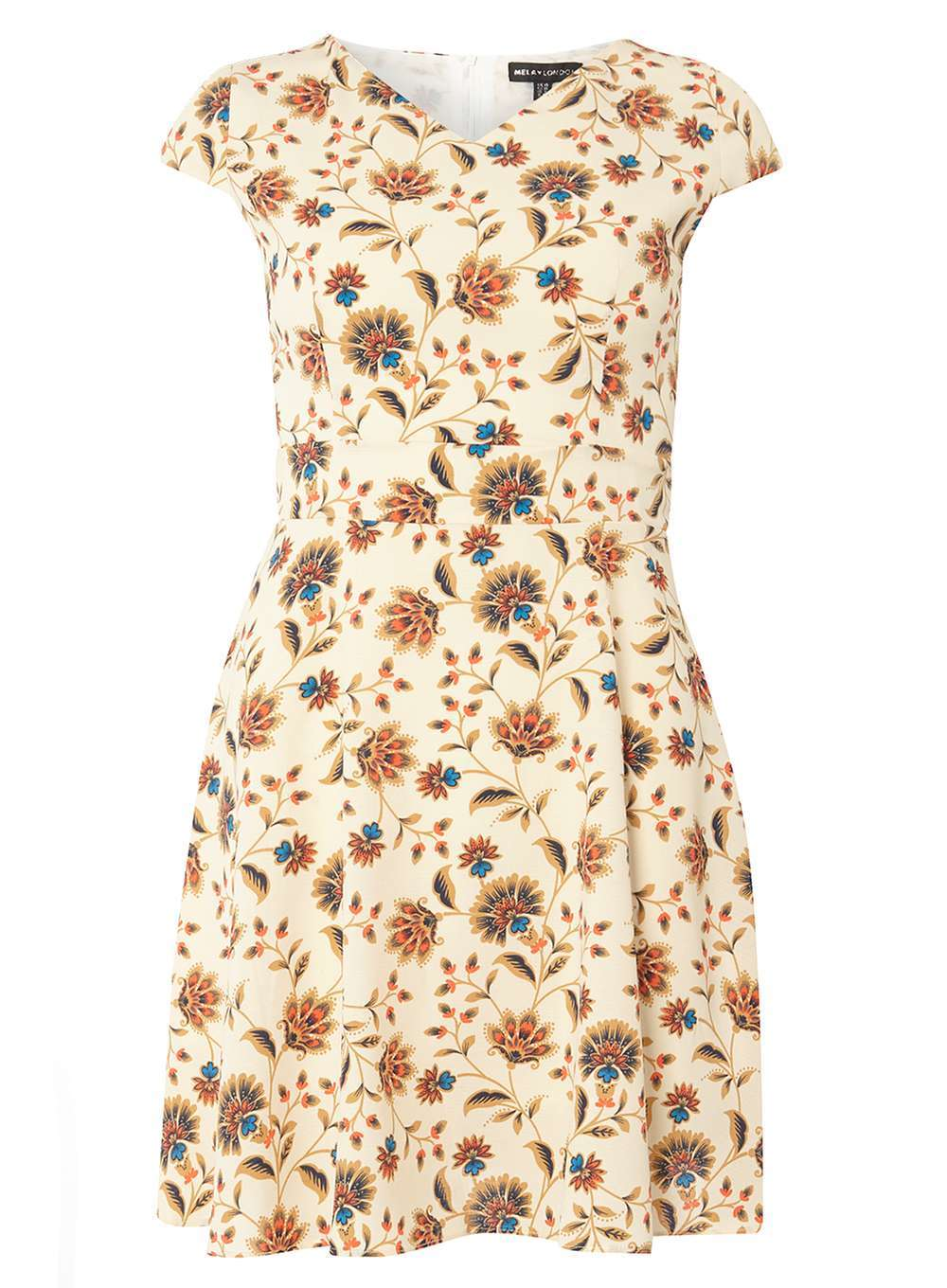 Womens **Mela Orange Flower Print Dress Orange - style: shift; neckline: v-neck; sleeve style: capped; predominant colour: nude; occasions: casual, creative work; length: just above the knee; fit: body skimming; fibres: polyester/polyamide - 100%; hip detail: subtle/flattering hip detail; sleeve length: short sleeve; pattern type: fabric; pattern: patterned/print; texture group: other - light to midweight; season: a/w 2016; wardrobe: highlight