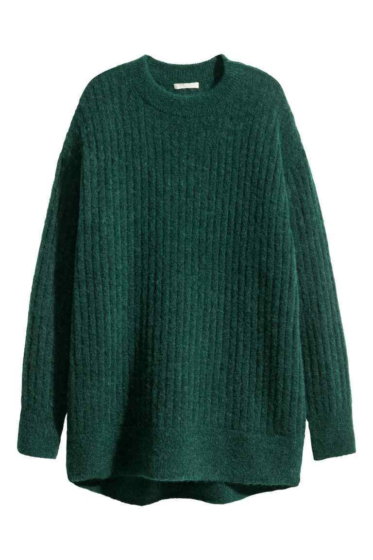 Oversized Mohair Blend Jumper - pattern: plain; style: standard; predominant colour: dark green; occasions: casual; length: standard; fibres: wool - mix; fit: loose; neckline: crew; sleeve length: long sleeve; sleeve style: standard; texture group: knits/crochet; pattern type: knitted - other; season: a/w 2016; wardrobe: highlight