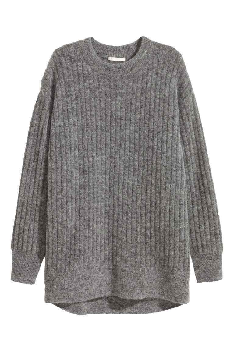 Oversized Mohair Blend Jumper - pattern: plain; length: below the bottom; style: standard; predominant colour: mid grey; occasions: casual; fibres: wool - mix; fit: standard fit; neckline: crew; sleeve length: long sleeve; sleeve style: standard; texture group: knits/crochet; pattern type: knitted - other; wardrobe: basic; season: a/w 2016