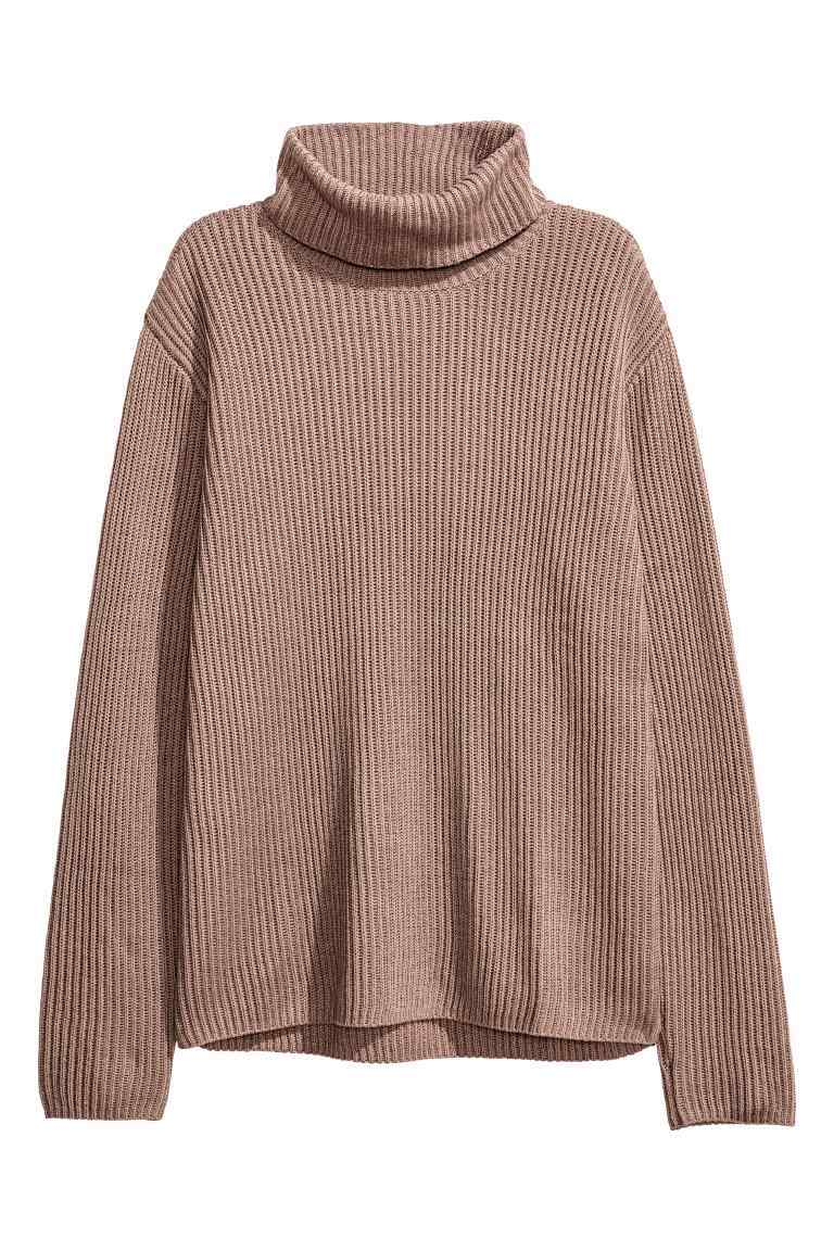 Rib Knit Polo Neck Jumper - pattern: plain; neckline: roll neck; style: standard; predominant colour: camel; occasions: casual; length: standard; fibres: cotton - mix; fit: standard fit; sleeve length: long sleeve; sleeve style: standard; texture group: knits/crochet; pattern type: knitted - fine stitch; wardrobe: basic; season: a/w 2016