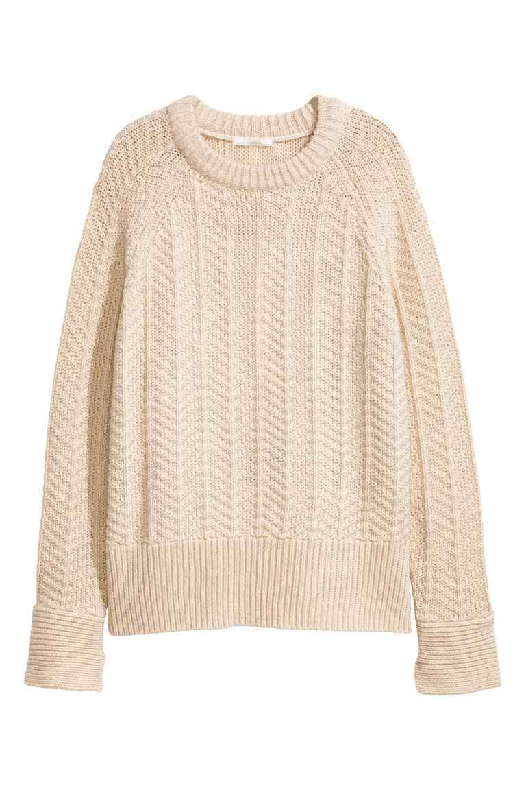 Knitted Jumper - style: standard; pattern: cable knit; predominant colour: blush; occasions: casual; length: standard; fibres: acrylic - mix; fit: standard fit; neckline: crew; sleeve length: long sleeve; sleeve style: standard; texture group: knits/crochet; pattern type: knitted - other; season: a/w 2016