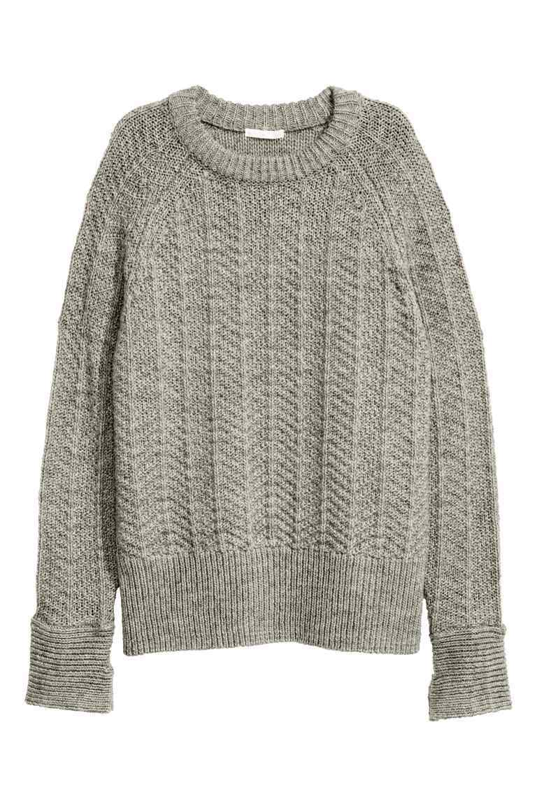 Knitted Jumper - pattern: plain; style: standard; predominant colour: mid grey; occasions: casual; length: standard; fibres: acrylic - mix; fit: loose; neckline: crew; sleeve length: long sleeve; sleeve style: standard; texture group: knits/crochet; pattern type: knitted - fine stitch; wardrobe: basic; season: a/w 2016