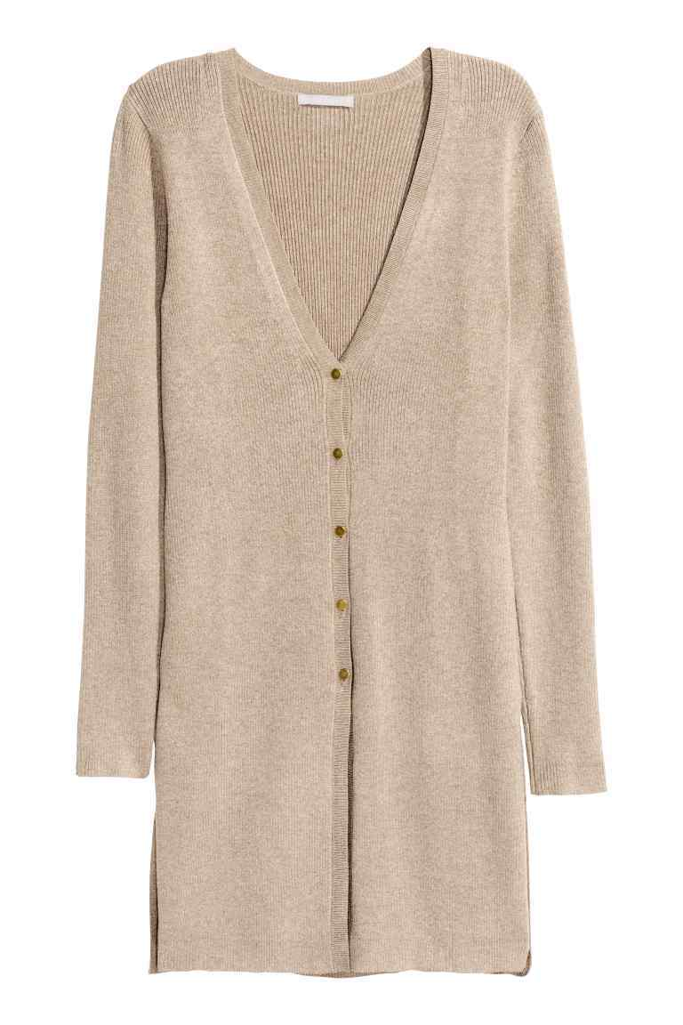 Ribbed Cardigan - neckline: v-neck; pattern: plain; length: below the bottom; predominant colour: stone; occasions: casual, work, creative work; style: standard; fit: loose; sleeve length: long sleeve; sleeve style: standard; texture group: knits/crochet; pattern type: knitted - fine stitch; fibres: viscose/rayon - mix; wardrobe: basic; season: a/w 2016