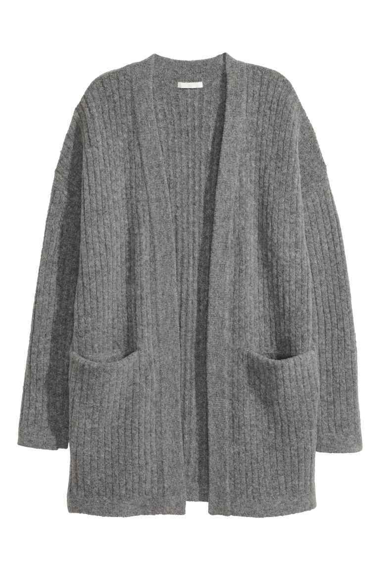 Knitted Cardigan - pattern: plain; length: below the bottom; neckline: collarless open; style: open front; predominant colour: mid grey; occasions: casual; fibres: acrylic - mix; fit: loose; sleeve length: long sleeve; sleeve style: standard; texture group: knits/crochet; pattern type: knitted - fine stitch; wardrobe: basic; season: a/w 2016