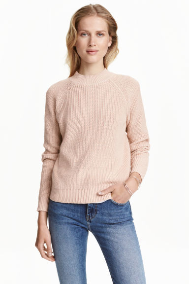 Knitted Turtleneck Jumper - pattern: plain; neckline: high neck; style: standard; predominant colour: blush; occasions: casual; length: standard; fibres: cotton - mix; fit: standard fit; sleeve length: long sleeve; sleeve style: standard; texture group: knits/crochet; pattern type: knitted - fine stitch; season: a/w 2016