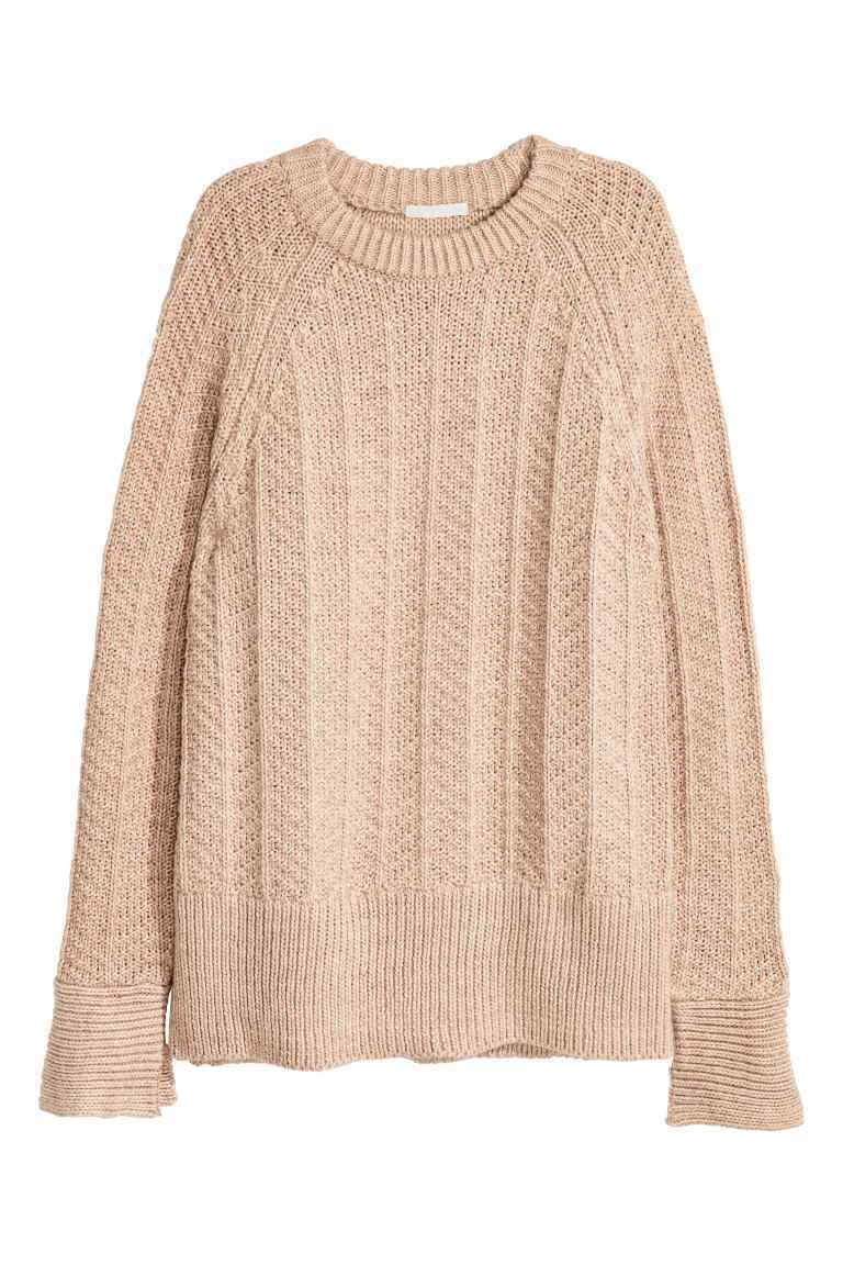 Knitted Jumper - sleeve style: raglan; pattern: plain; length: below the bottom; style: standard; predominant colour: stone; occasions: casual, creative work; fibres: acrylic - mix; fit: loose; neckline: crew; sleeve length: long sleeve; texture group: knits/crochet; pattern type: knitted - fine stitch; season: a/w 2016
