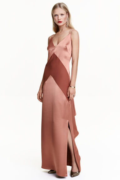 Long Satin Dress - style: ballgown; neckline: low v-neck; sleeve style: spaghetti straps; pattern: striped; length: ankle length; predominant colour: nude; fit: body skimming; fibres: polyester/polyamide - 100%; occasions: occasion; hip detail: slits at hip; sleeve length: sleeveless; texture group: structured shiny - satin/tafetta/silk etc.; pattern type: fabric; pattern size: standard; season: a/w 2016; wardrobe: event