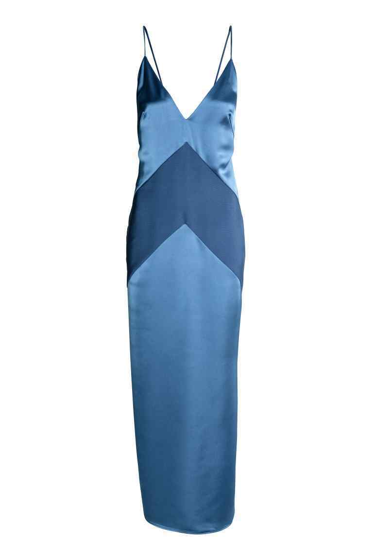 Long Satin Dress - style: ballgown; neckline: plunge; sleeve style: spaghetti straps; pattern: striped; length: ankle length; back detail: low cut/open back; predominant colour: denim; occasions: evening, occasion; fit: body skimming; fibres: polyester/polyamide - 100%; sleeve length: sleeveless; texture group: structured shiny - satin/tafetta/silk etc.; pattern type: fabric; pattern size: standard; season: a/w 2016
