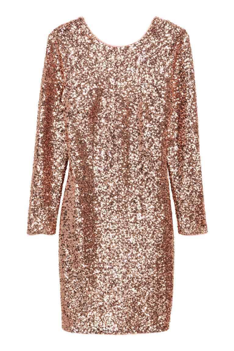 Sequined Dress - style: tunic; neckline: round neck; pattern: plain; predominant colour: gold; occasions: evening, occasion; length: just above the knee; fit: body skimming; fibres: polyester/polyamide - 100%; sleeve length: long sleeve; sleeve style: standard; pattern type: fabric; texture group: jersey - stretchy/drapey; embellishment: sequins; season: a/w 2016; wardrobe: event; embellishment location: all over
