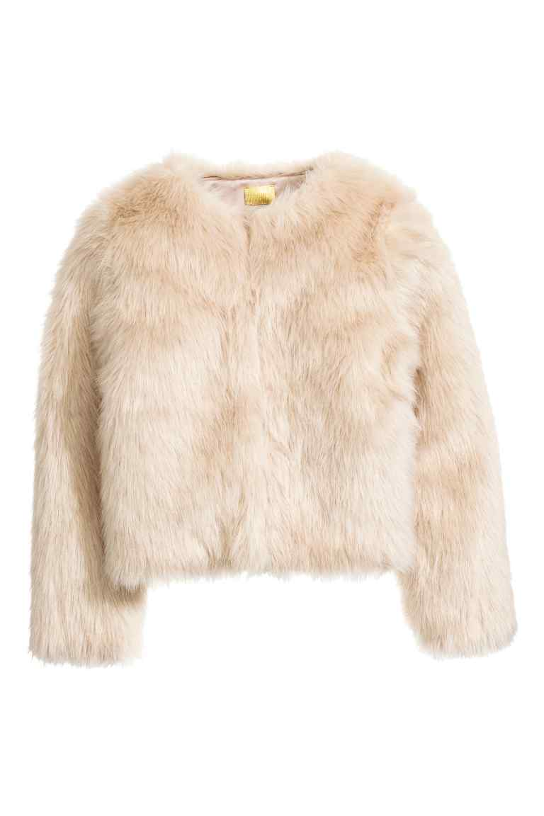 Faux Fur Jacket - pattern: plain; collar: round collar/collarless; style: boxy; predominant colour: ivory/cream; occasions: evening, occasion, creative work; fit: straight cut (boxy); fibres: acrylic - 100%; sleeve length: long sleeve; sleeve style: standard; texture group: fur; collar break: high; pattern type: fabric; length: cropped; season: a/w 2016; wardrobe: highlight