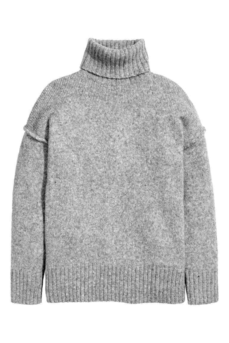 Chunky Knit Polo Neck Jumper - pattern: plain; neckline: roll neck; style: standard; predominant colour: mid grey; occasions: casual, creative work; length: standard; fibres: acrylic - mix; fit: standard fit; sleeve length: long sleeve; sleeve style: standard; texture group: knits/crochet; pattern type: knitted - other; wardrobe: basic; season: a/w 2016